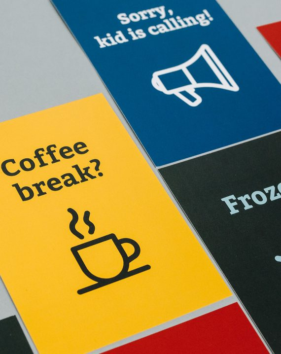 BR Videokonferenzkarten Coffee break? und Sorry, kids calling! Hochformat