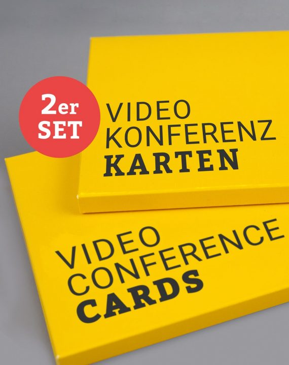Videokonferenzkarten im 2er-Set auf Deutsch und Englisch