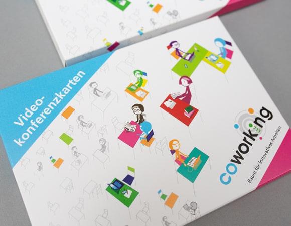 Videokonferenzkarten mit Branding von Coworking 0711