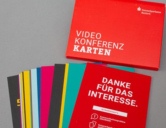 Videokonferenzkarten mit Branding der Kreissparkasse